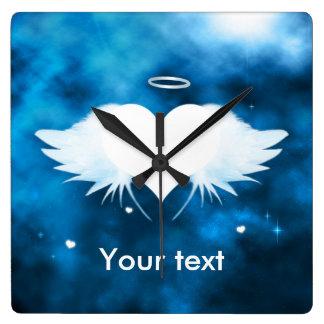 Horloge murale carrée - ange du coeur