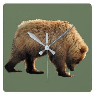 horloge murale carrée avec l'petit animal d'ours