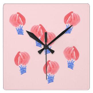 Horloge murale carrée de ballons à air