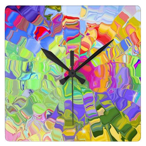 Horloge murale carr e de couleurs liquides zazzle - Horloge murale carree ...