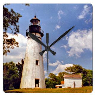 Horloge murale carrée de la Floride de phare