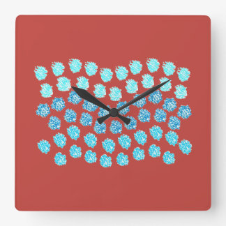 Horloge murale carrée de vagues bleues