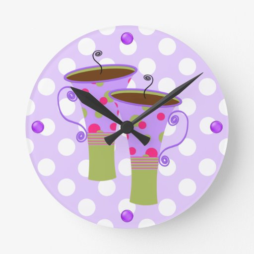horloge murale color e de cuisine de tasses de caf zazzle. Black Bedroom Furniture Sets. Home Design Ideas