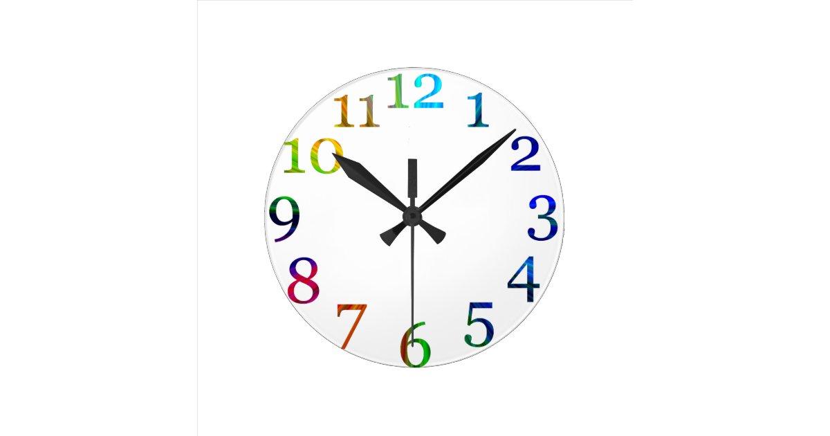 horloge murale color e de nombres d 39 arc en ciel. Black Bedroom Furniture Sets. Home Design Ideas