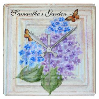 Horloge murale d'art de jardin de papillons et