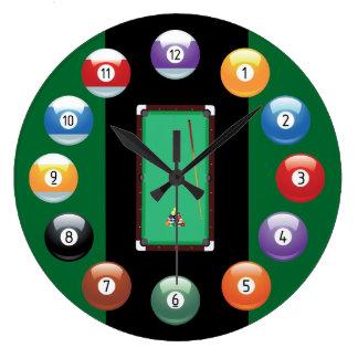 Horloge murale de boules de billard