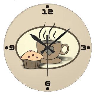 Horloge murale de café et de petit pain pour des