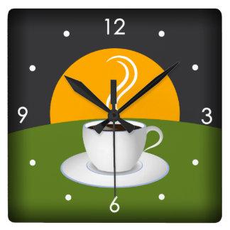 Horloge murale de carré de café de tasse de café