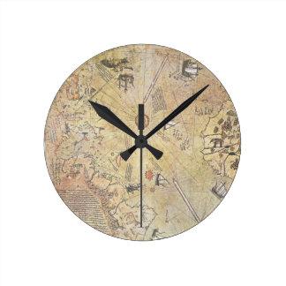 Horloge murale de carte du monde de Piri Reis
