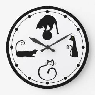 Horloge murale de chat noir