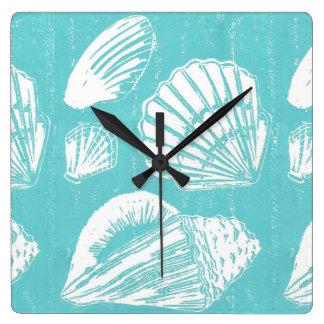 Horloge murale de coquillages, carré ou rond