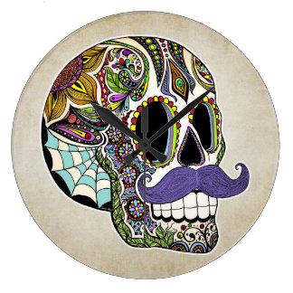 Horloge murale de crâne de sucre de moustache