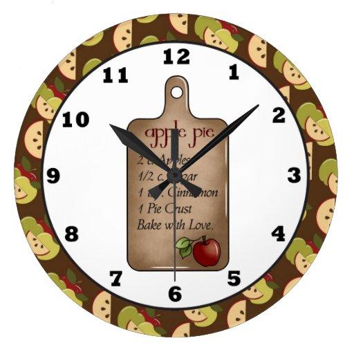 Horloge murale de cuisine de recette de tarte aux