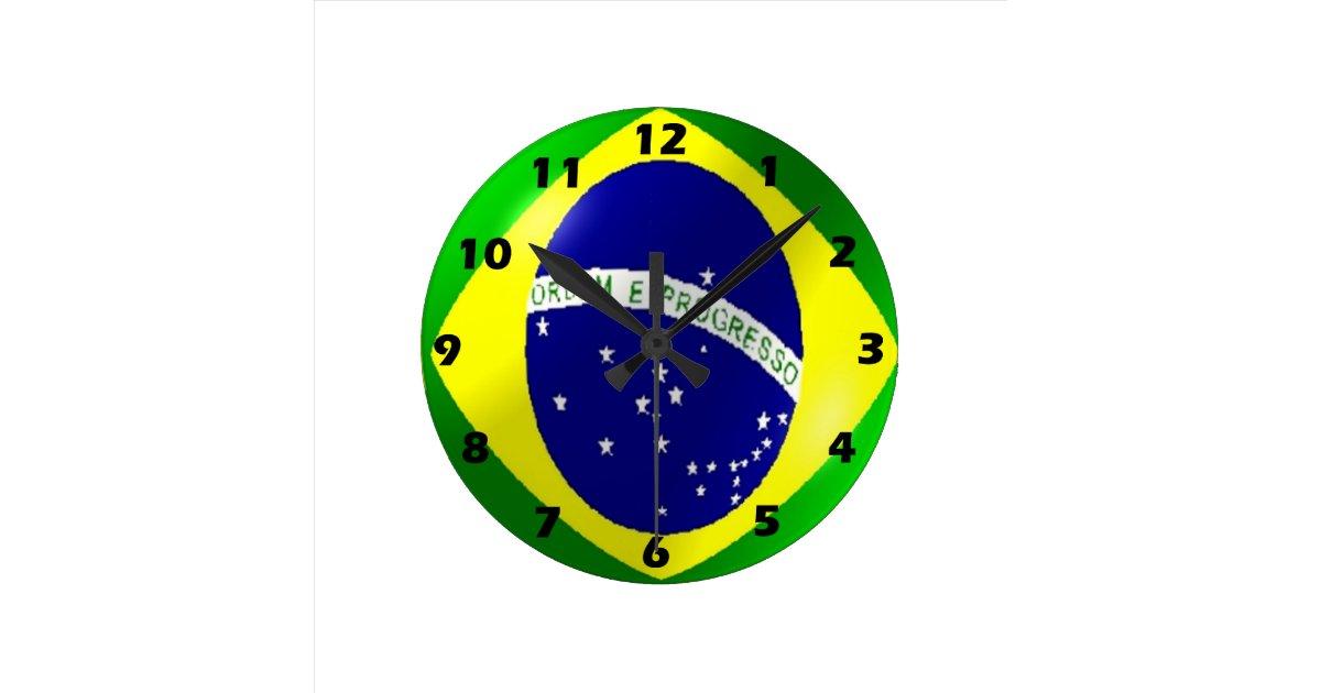 Horloge murale de drapeau du br sil zazzle for Horloge murale 3 cadrans