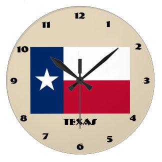 Horloge murale de drapeau du Texas