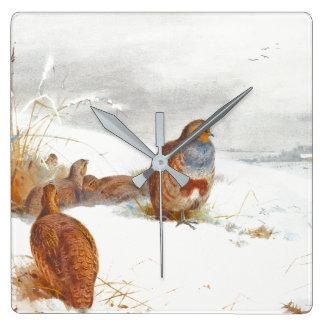 Horloge murale de faune d'animaux de neige