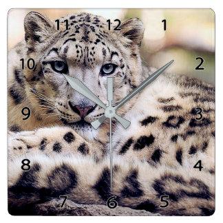 Horloge murale de faune de léopard de neige