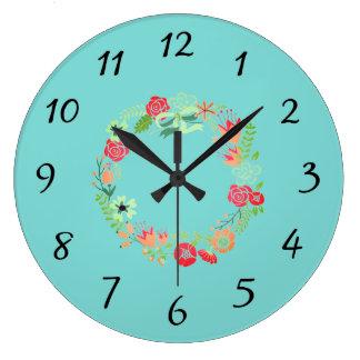 Horloge murale de guirlande de rose de turquoise