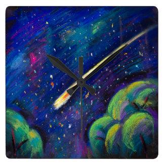 Horloge murale de l'espace d'étoile avec la comète