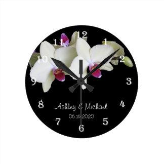 Horloge murale de mariage -- Fleur personnalisée d