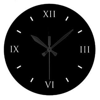 Horloge murale de noir de chiffre romain (ronde)