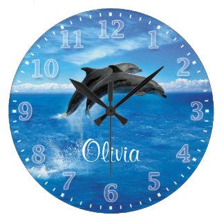 Horloge murale de Personalizable de dauphins