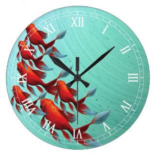 Horloge murale de poissons de Koi