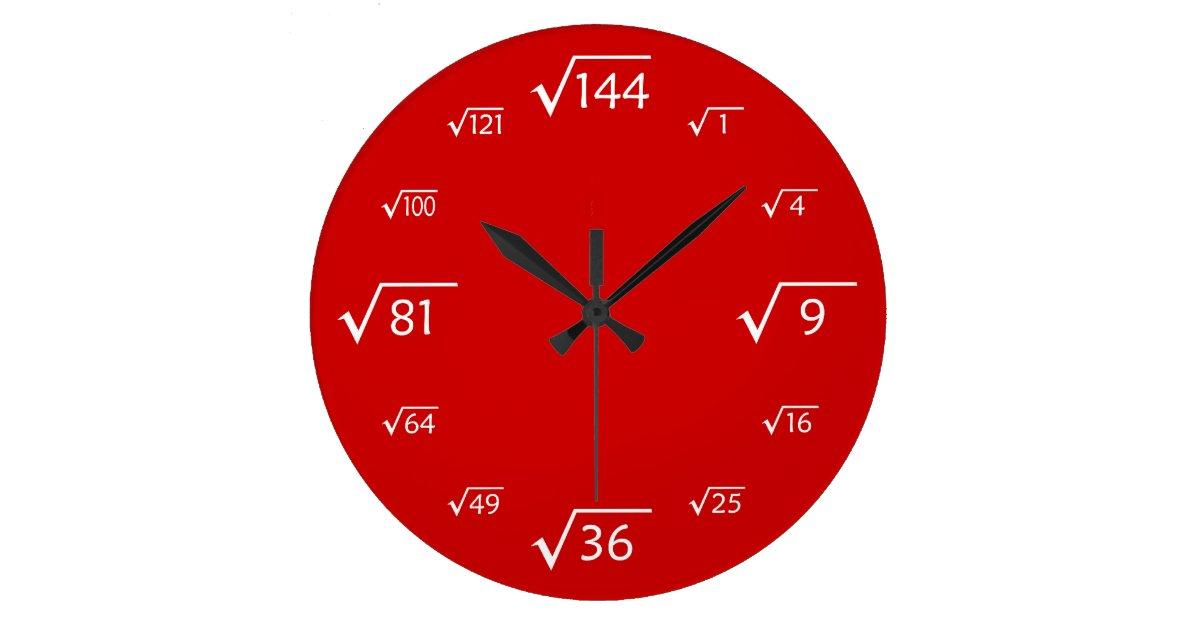 horloge murale de racine carr e rouge blanc. Black Bedroom Furniture Sets. Home Design Ideas