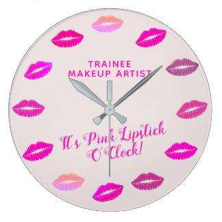 Horloge murale de rouge à lèvres de rose de