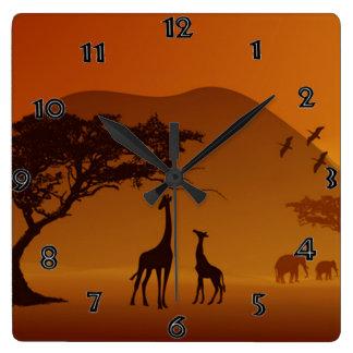 Horloge murale de safari