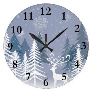 Horloge murale de scène d'hiver grande) (