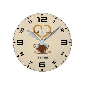 Horloge murale de temps de café ronde (milieu)