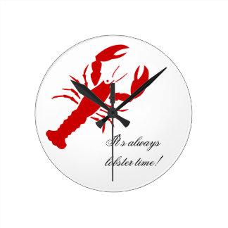 Horloge murale de temps de homard