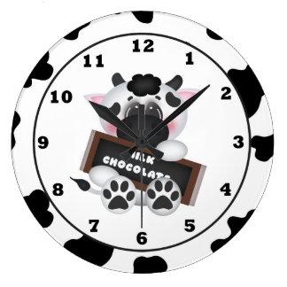 Horloge murale de vache à chocolat de bande dessin