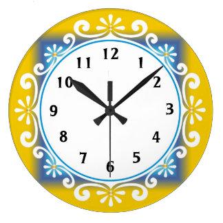 Horloge murale décorative : : Cadre jaune