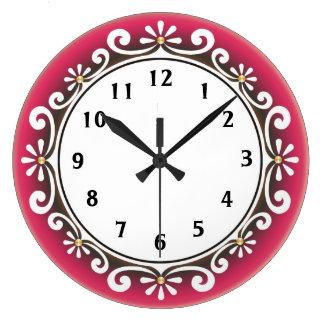 Horloge murale décorative : : Cadre rouge