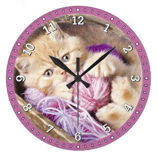 Horloge murale décorative de chaton