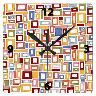 Horloge murale décorative de couleur de motif mult
