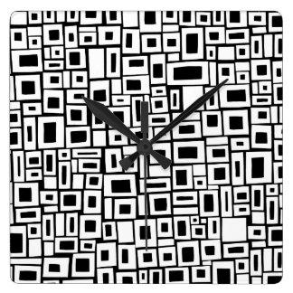 Horloge murale décorative de motif noir et blanc
