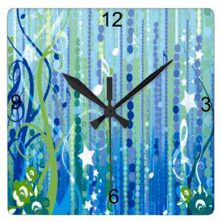 Horloge murale décorative de musique bleue