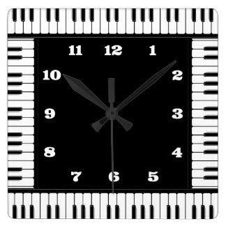Horloge murale décorative de piano noir et blanc