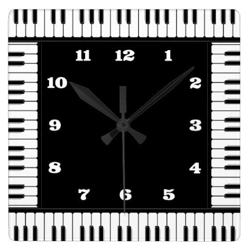 horloge murale d corative de piano noir et blanc zazzle. Black Bedroom Furniture Sets. Home Design Ideas