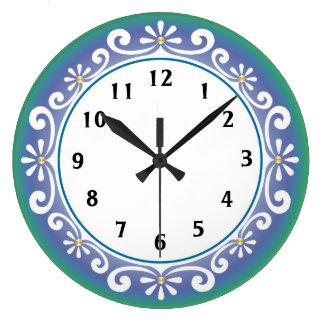 Horloge murale décorative : : Vert bleu
