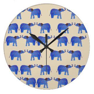 Horloge murale d'humeur d'éléphant, motif bleu