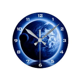 Horloge murale d'imaginaire de la terre et de lune