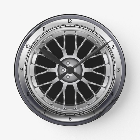 horloge murale en acier de roue de pneu de voiture. Black Bedroom Furniture Sets. Home Design Ideas