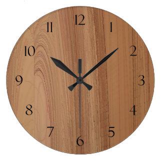 Horloge murale en bois d'impression de grain de Fa