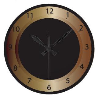 Horloge murale en bronze et noire
