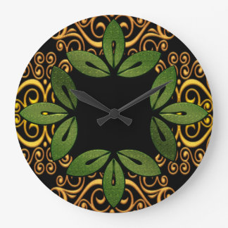 Horloge murale florale décorative de feuille