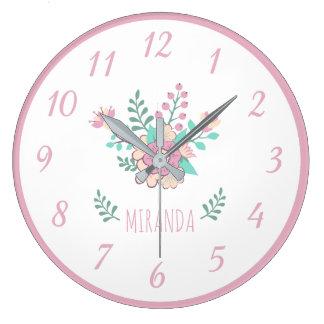 Horloge murale florale nommée faite sur commande